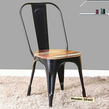 metal chair with wooden seat - garden furniture