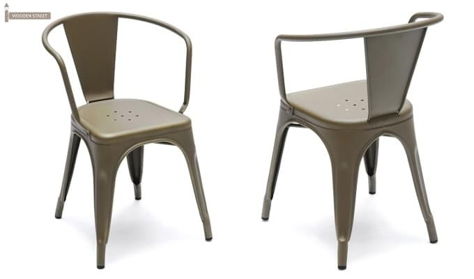 Camion Grey Arm Iron Chair Set of -2 (Grey)-2