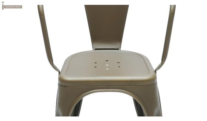 Camion Grey Arm Iron Chair Set of -2 (Grey)-3
