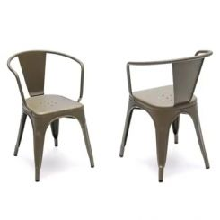 Camion Grey Arm Iron Chair Set of -2 (Grey)