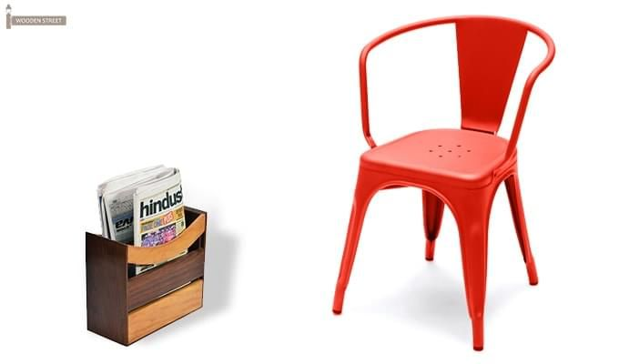 Camion Metal Arm Chair (Red)-1