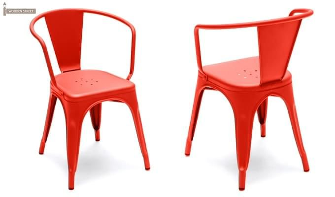 Camion Metal Arm Chair (Red)-2