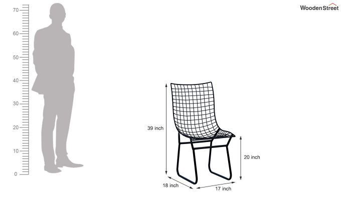 Todd Wire Mesh Metal Chair (Black)-6