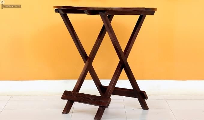 Hanton Folding Chair And Round Table (Walnut Finish)-3