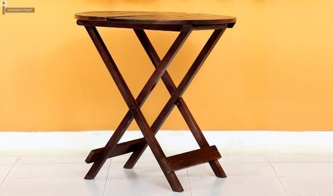 Hanton Folding Chair And Round Table (Walnut Finish)-5