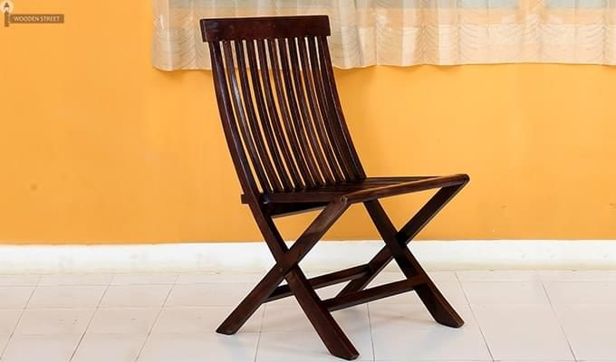 Hanton Folding Chair And Round Table (Walnut Finish)-7