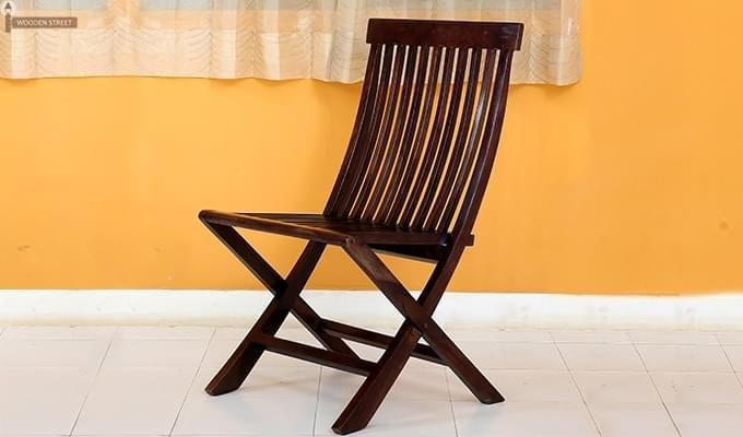 Hanton Folding Chair And Round Table (Walnut Finish)-9