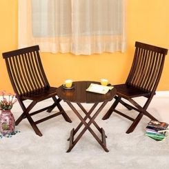 Hanton Folding Chair And Round Table (Walnut Finish)