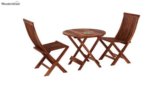 Hanton Folding Chair And Round Table (Honey Finish)-2