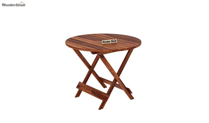 Hanton Folding Chair And Round Table (Honey Finish)-4