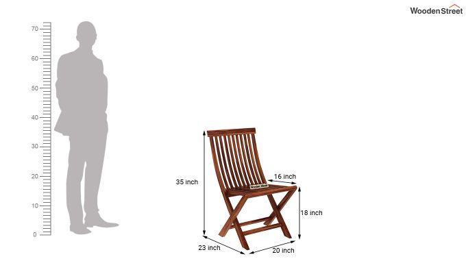 Hanton Folding Chair And Round Table (Honey Finish)-9