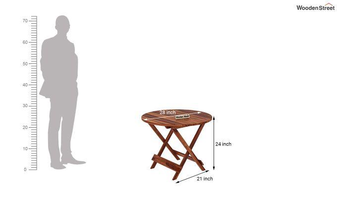 Hanton Folding Chair And Round Table (Honey Finish)-8