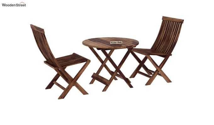 Hanton Folding Chair And Round Table (Teak Finish)-2