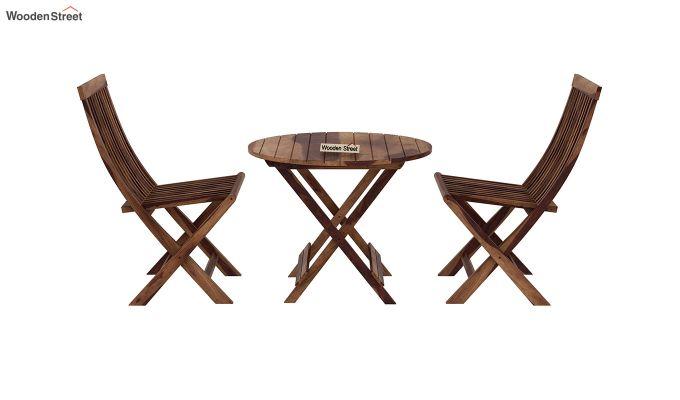 Hanton Folding Chair And Round Table (Teak Finish)-3