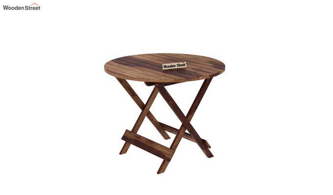Hanton Folding Chair And Round Table (Teak Finish)-4