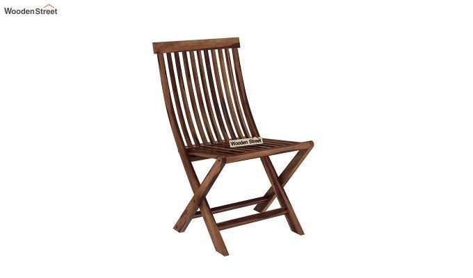 Hanton Folding Chair And Round Table (Teak Finish)-6