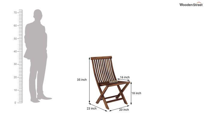 Hanton Folding Chair And Round Table (Teak Finish)-8