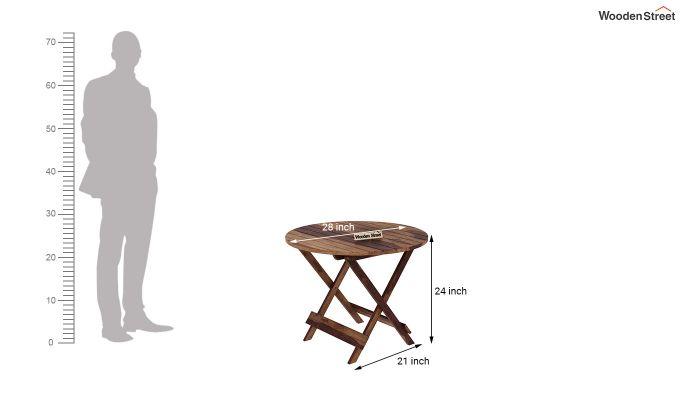 Hanton Folding Chair And Round Table (Teak Finish)-9