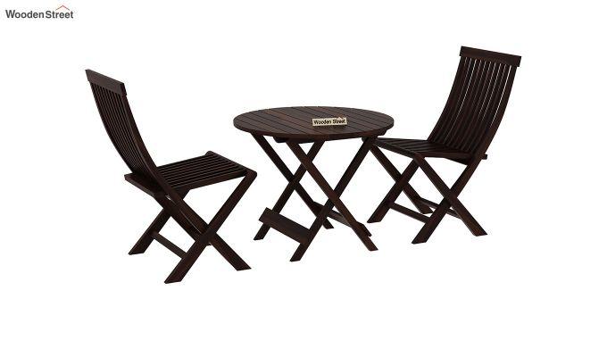 Hanton Folding Chair And Round Table (Walnut Finish)-2