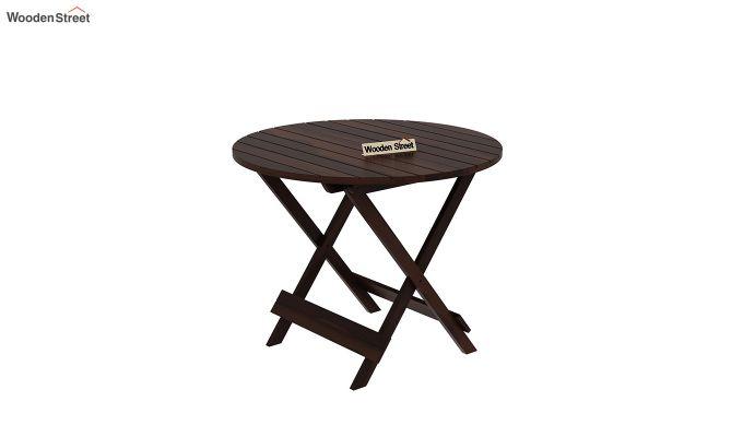 Hanton Folding Chair And Round Table (Walnut Finish)-4