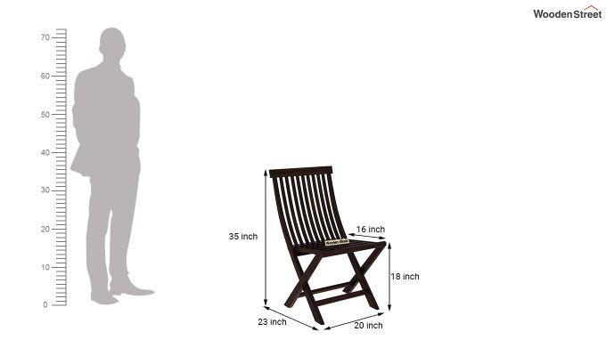 Hanton Folding Chair And Round Table (Walnut Finish)-8
