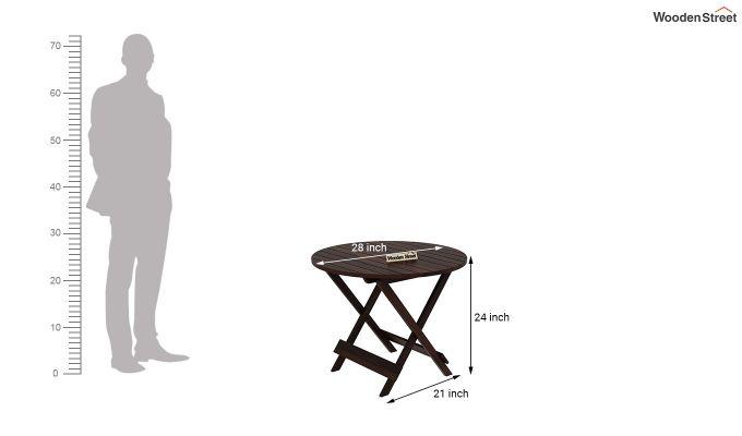 Hanton Folding Chair And Round Table (Walnut Finish)-9