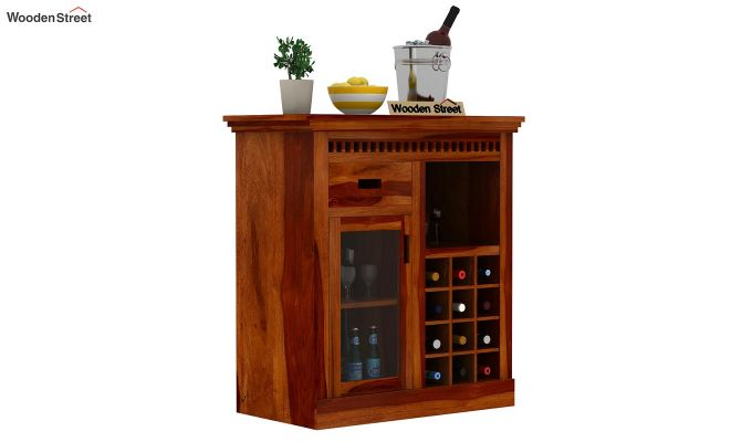 Adolph Small Bar Cabinet (Honey Finish)-1