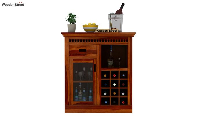 Adolph Small Bar Cabinet (Honey Finish)-2