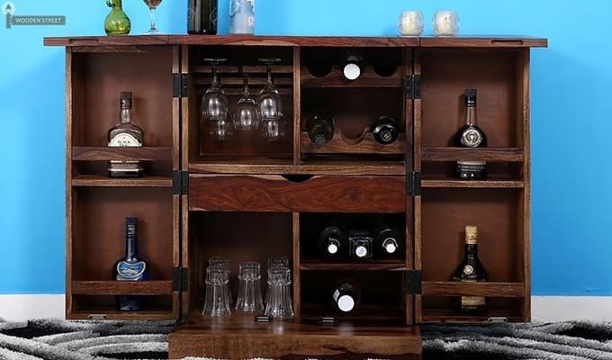 Auric Small Bar Cabinet (Teak Finish)-1