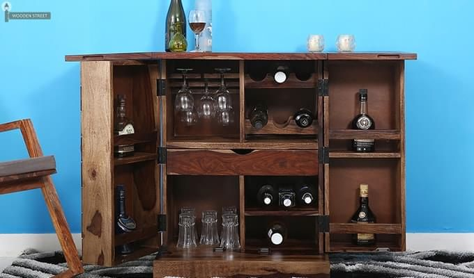 Auric Small Bar Cabinet (Teak Finish)-2