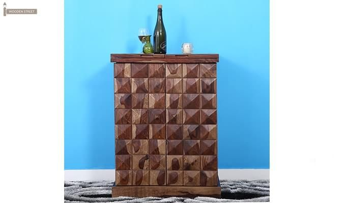 Auric Small Bar Cabinet (Teak Finish)-3