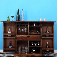 Auric Small Bar Cabinet (Teak Finish)