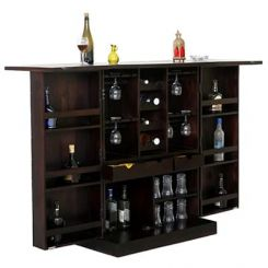 Auric Large Bar Cabinet (Mahogany Finish)