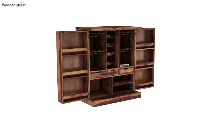 Auric Large Bar Cabinet (Teak Finish)-5