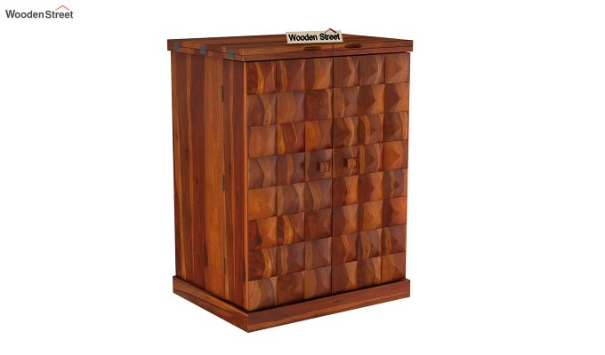 Auric Small Bar Cabinet (Honey Finish)-4