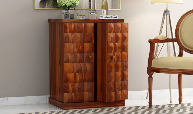 Auric Small Bar Cabinet (Honey Finish)-3