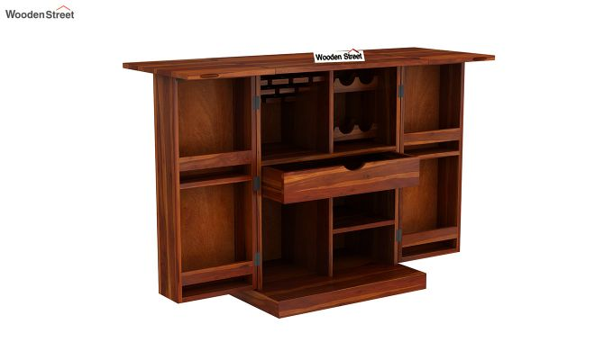 Auric Small Bar Cabinet (Honey Finish)-6