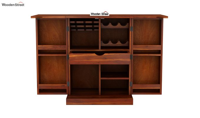 Auric Small Bar Cabinet (Honey Finish)-7