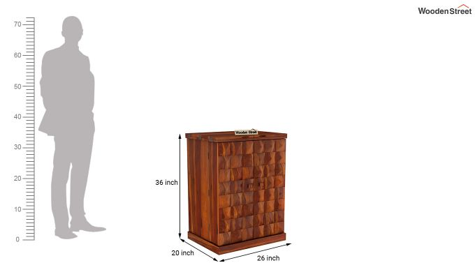 Auric Small Bar Cabinet (Honey Finish)-8