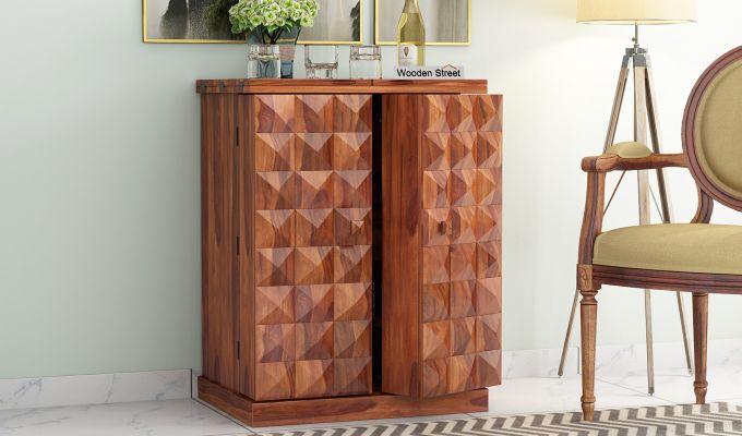 Auric Small Bar Cabinet (Honey Finish)-1