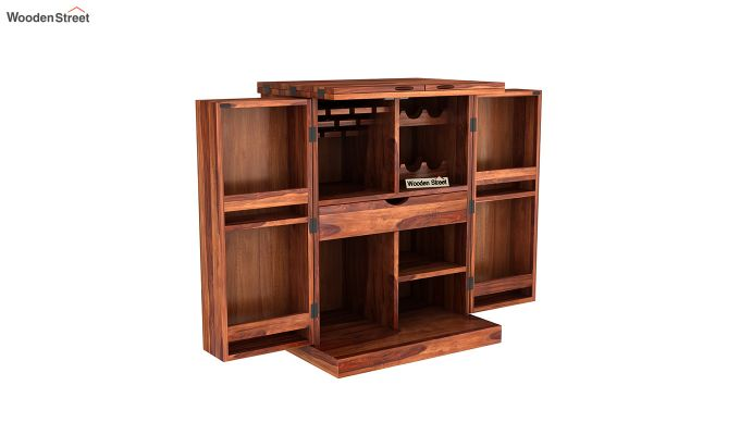 Auric Small Bar Cabinet (Honey Finish)-4