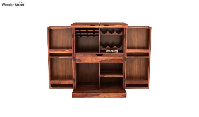 Auric Small Bar Cabinet (Honey Finish)-5