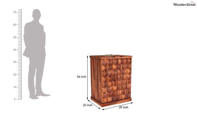 Auric Small Bar Cabinet (Honey Finish)-8