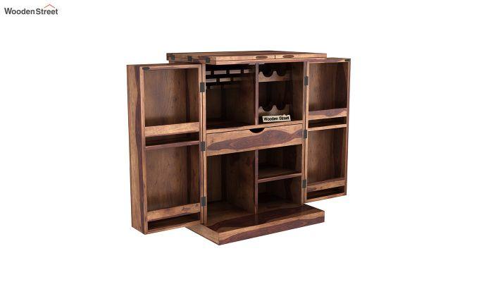 Auric Small Bar Cabinet (Teak Finish)-4