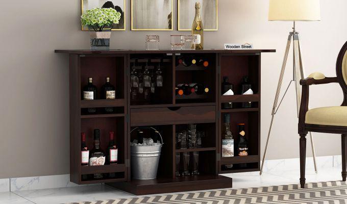 Auric Small Bar Cabinet (Walnut Finish)-1
