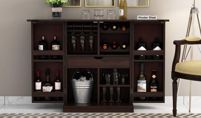 Auric Small Bar Cabinet (Walnut Finish)-2