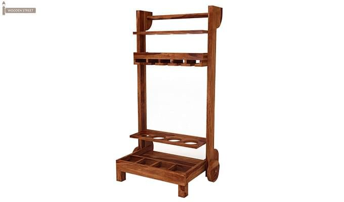 Bestro Bar Trolley (Teak Finish)-3