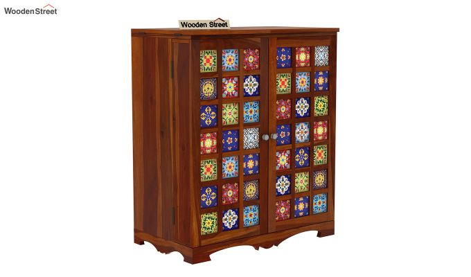 Boho Bar Cabinet (Walnut Finish)-7