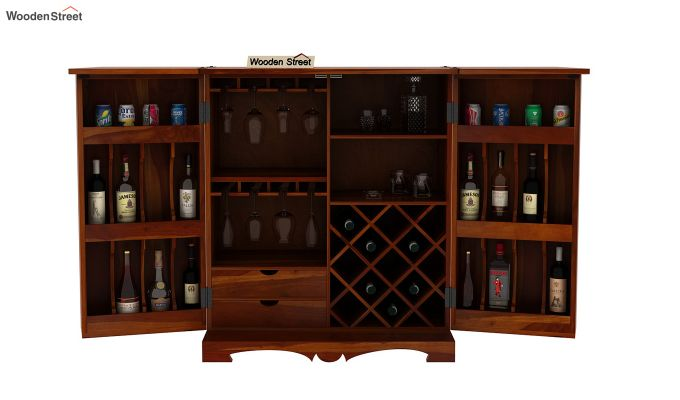 Boho Bar Cabinet (Walnut Finish)-8