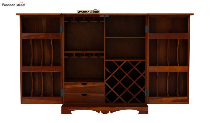 Boho Bar Cabinet (Walnut Finish)-9